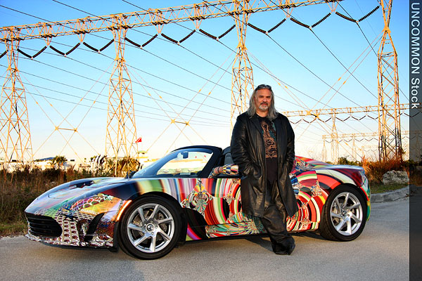 Laurence Gartel with his Tesla art car