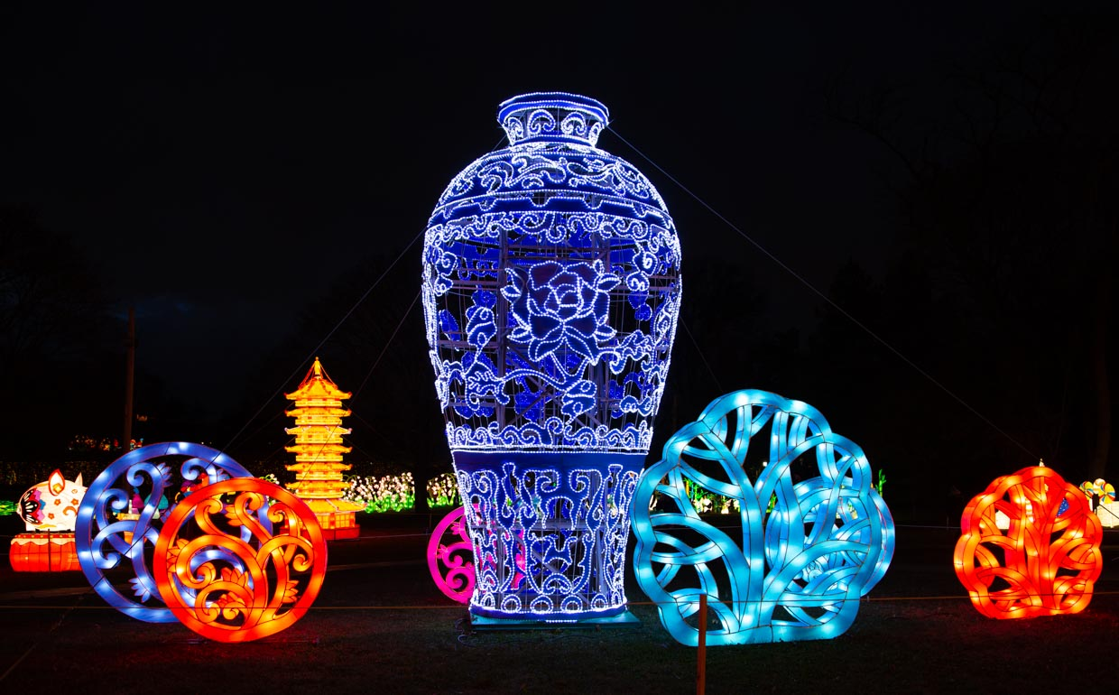 Giant lanterns grace the grounds of Snug Harbor