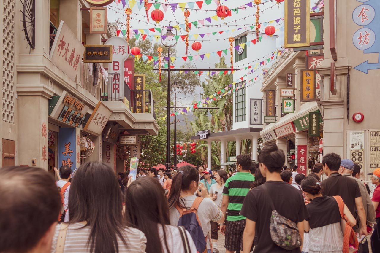 A street at the Old Hong Kong attraction at Ocean Park Hong Kong